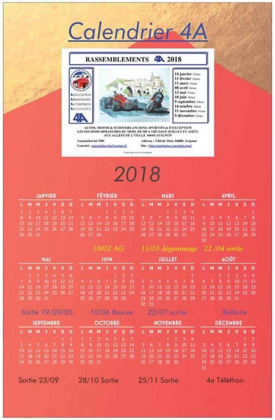 Calendrier 2018 ag