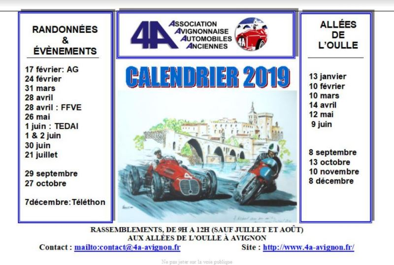 Calendrier rassemblements 2019