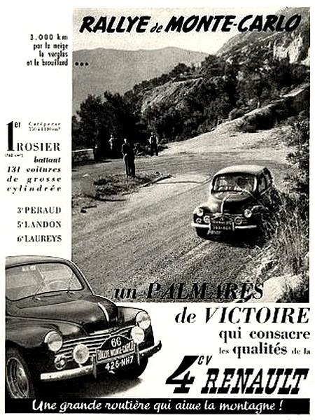 Renault 4 cv rallye de monte carlo affiche de 1949